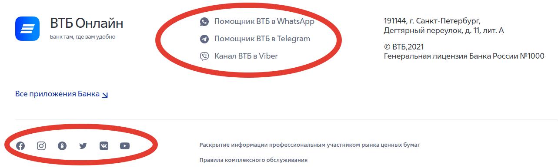 Способы онлайн поддержки банка ВТБ.