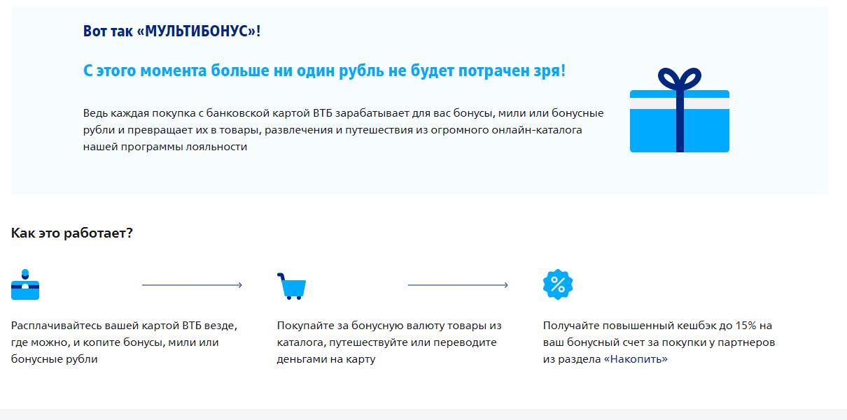 Бонусная программа ВТБ.